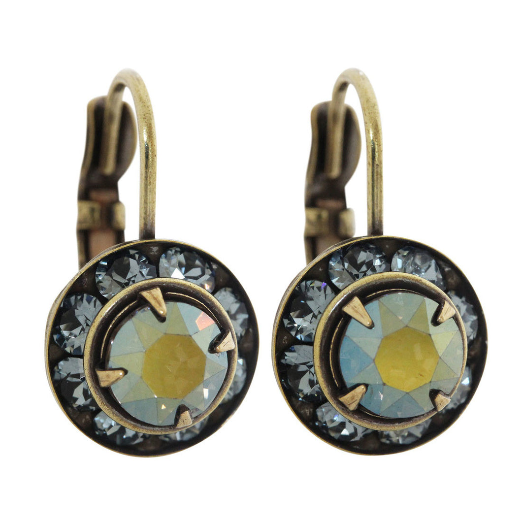 Liz Palacios Antiqued Brass Small Rondelle Swarovski Crystal Earrings, BSE-43 Dusty Blue Iridescent Green