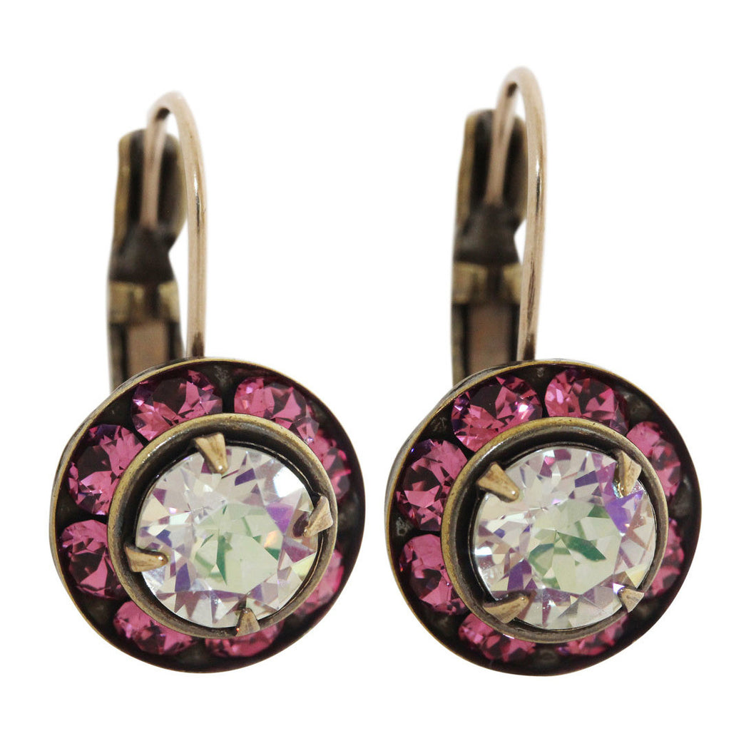 Liz Palacios Antiqued Brass Small Rondelle Swarovski Crystal Earrings, BSE-43 Fuchsia Iridescent