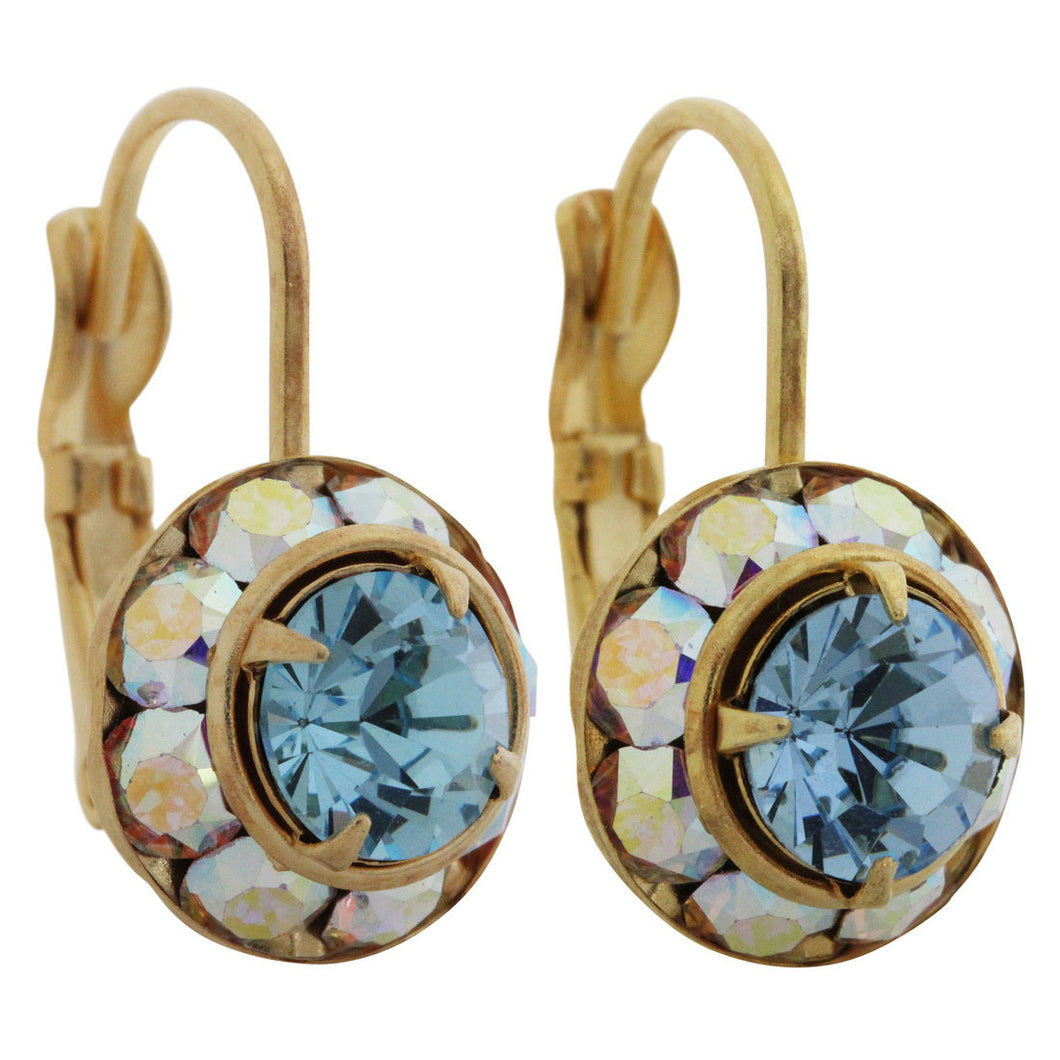 Liz Palacios 14k Gold Plated Small Rondelle Swarovski Crystal Earrings, JE-77 AB Aqua Blue