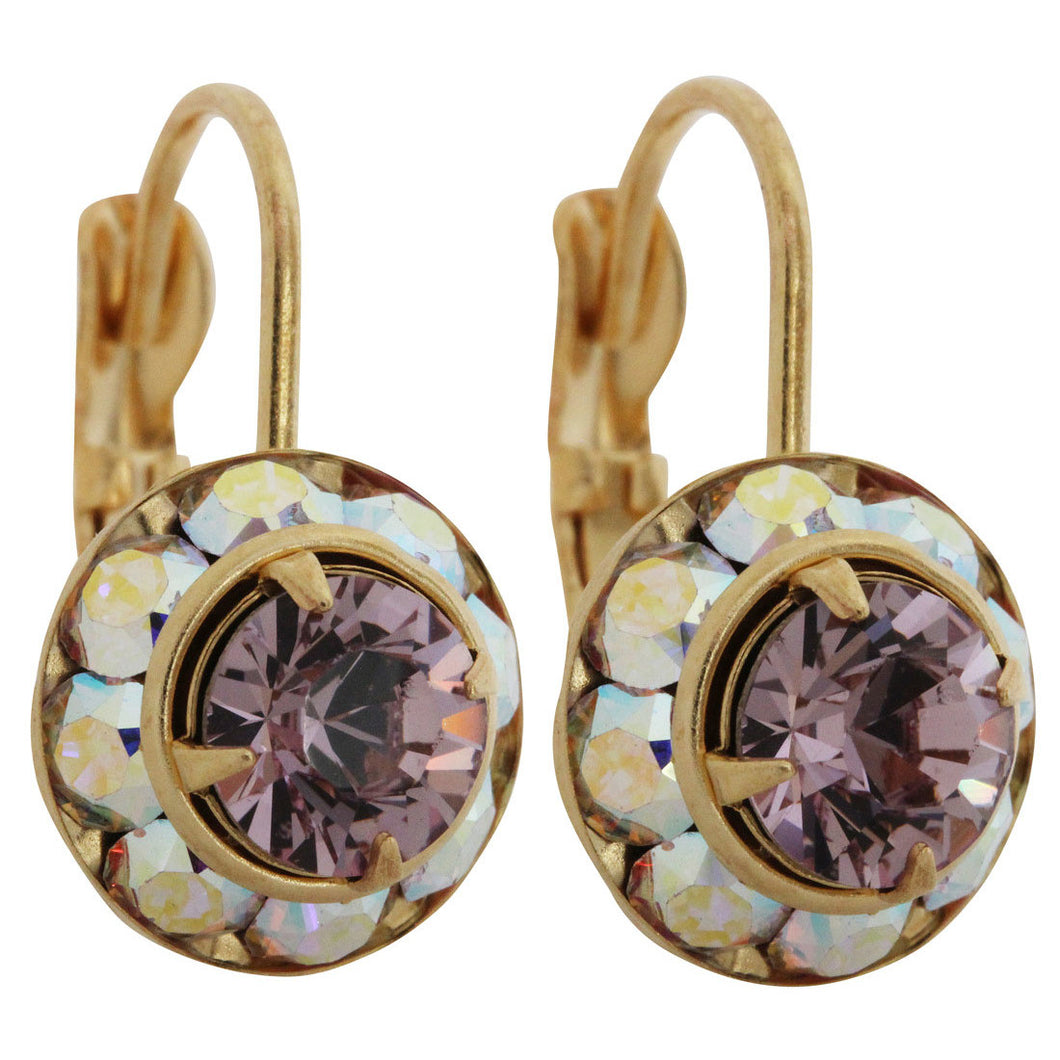 Liz Palacios 14k Gold Plated Small Rondelle Swarovski Crystal Earrings, JE-77 AB Light Amethyst