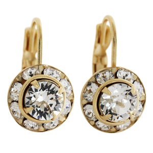 Liz Palacios 14k Gold Plated Small Rondelle Swarovski Crystal Earrings, JE-77 Clear