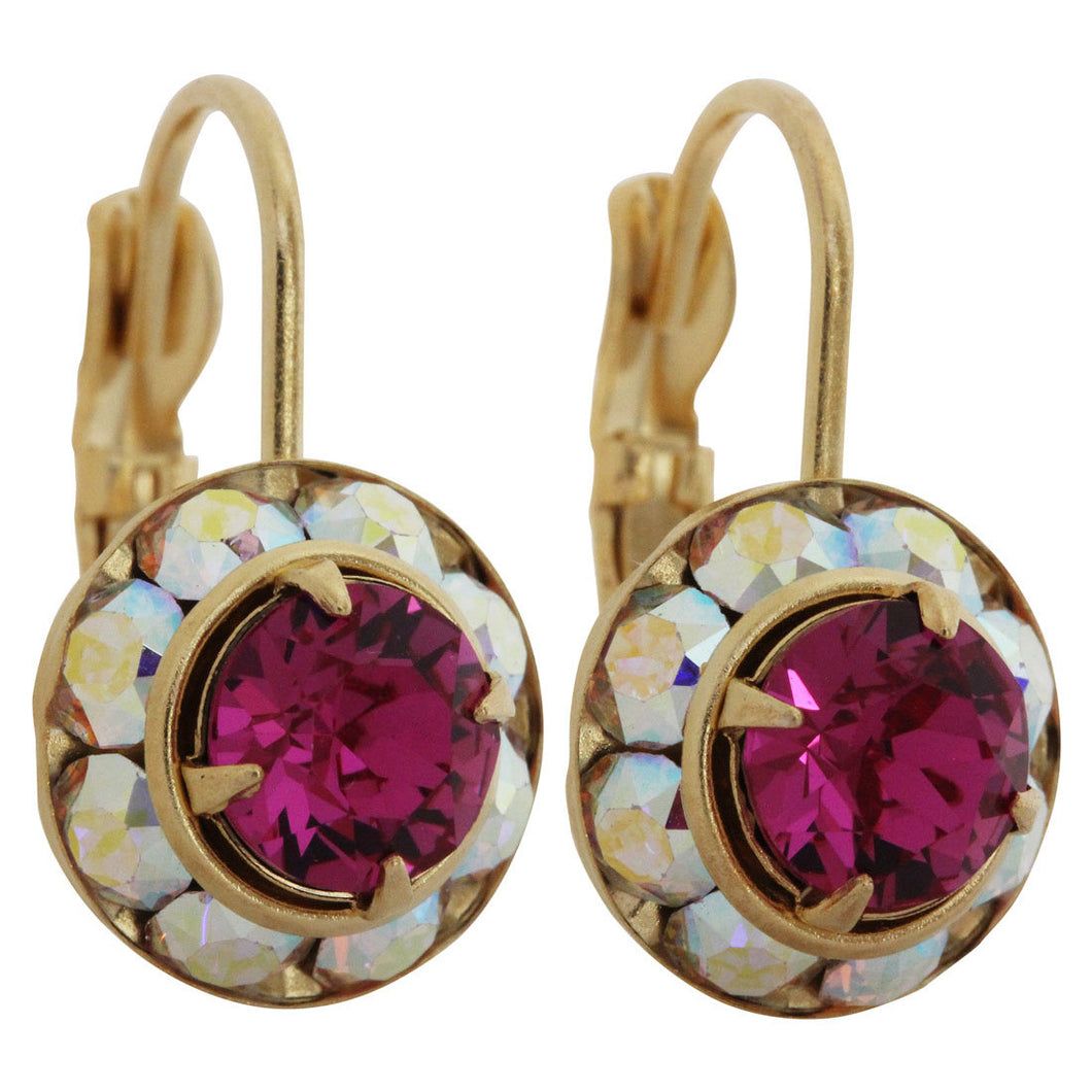 Liz Palacios 14k Gold Plated Small Rondelle Swarovski Crystal Earrings, JE-77 AB Fuchsia