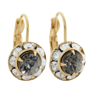 Liz Palacios 14k Gold Plated Small Rondelle Swarovski Crystal Earrings, JE-77 Moonlight Gray
