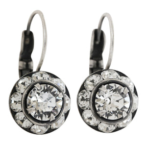 Liz Palacios Sterling Silver Plated Small Rondelle Swarovski Crystal Earrings, JE-77 Clear