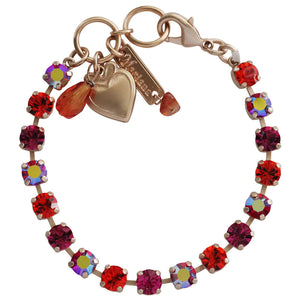 "Mariana Rose Gold Plated Small Classic Tennis Swarovski Crystal Bracelet, 7"" Lady Marmalade 4430 1075mr"