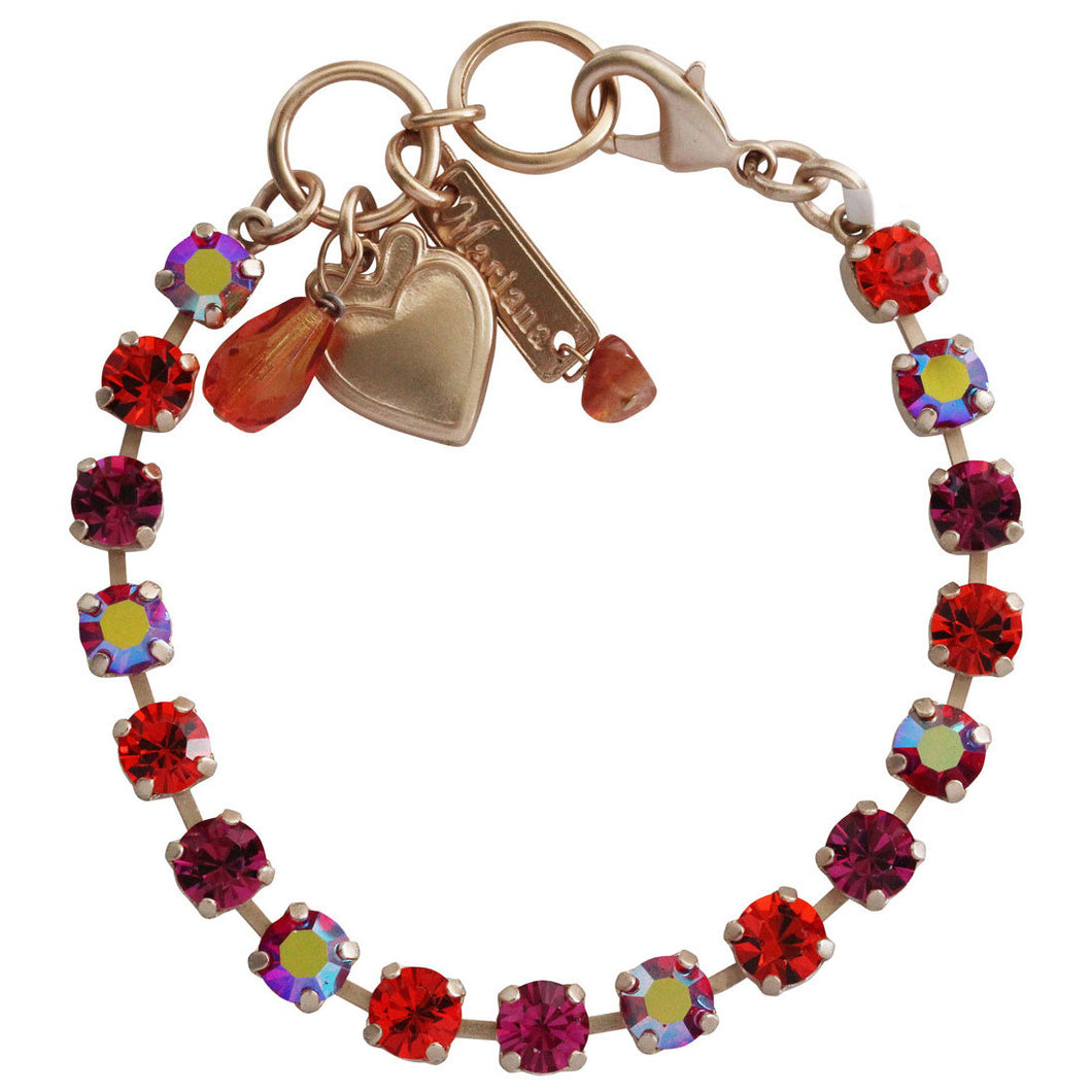 Mariana Rose Gold Plated Small Classic Tennis Swarovski Crystal Bracelet, 7