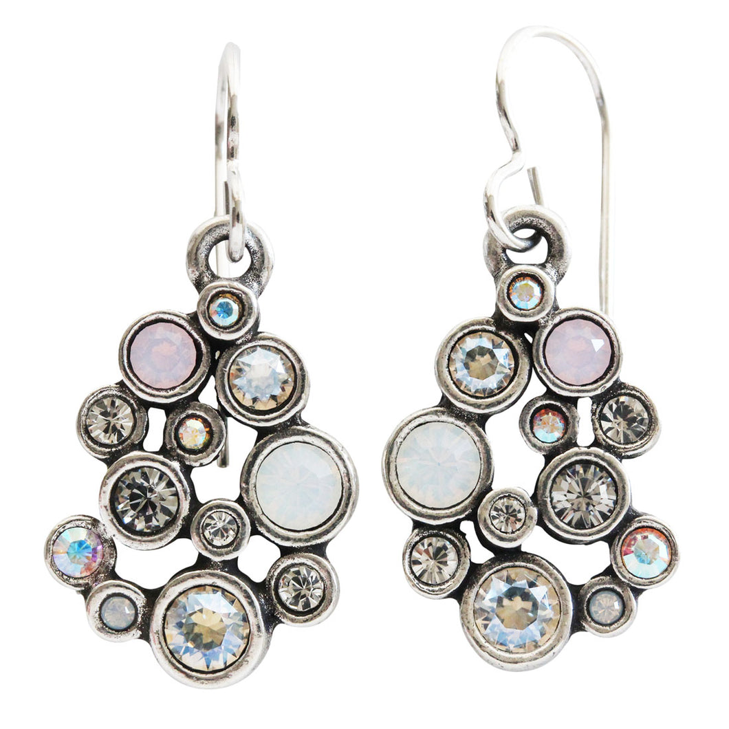 Patricia Locke Something Borrowed Round Mosaic Art Sterling Silver Plated Swarovski Crystal Earrings, EF0930S Sugar