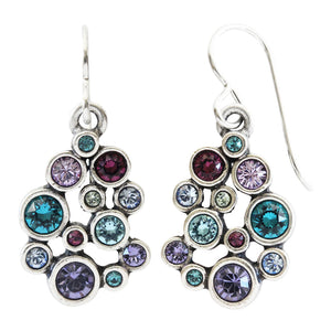 Patricia Locke Something Borrowed Round Mosaic Art Sterling Silver Plated Swarovski Crystal Earrings, EF0930S Waterlily