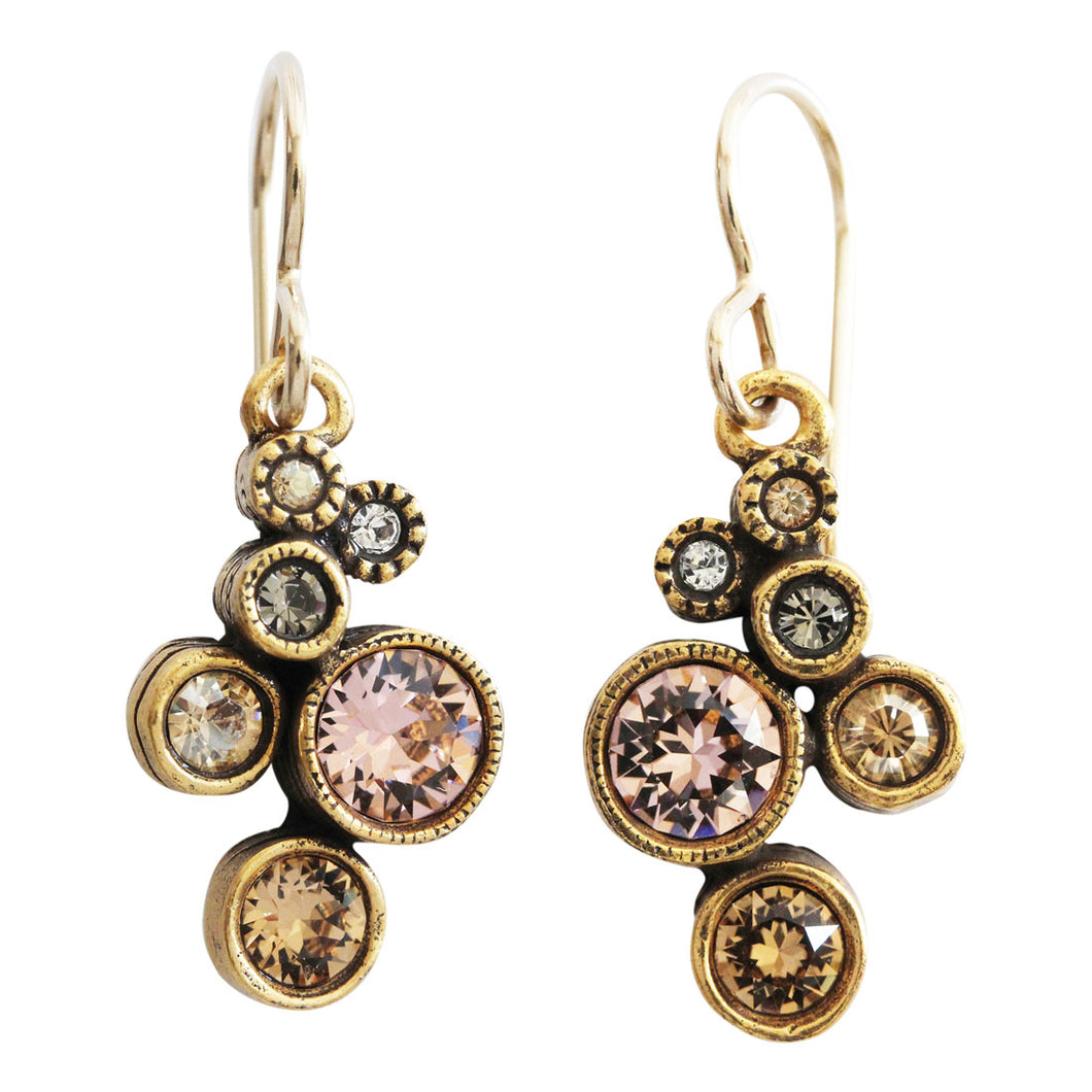 Patricia Locke Splash Gold Plated Swarovski Mosaic Dangle Earrings, EF0685G Champagne