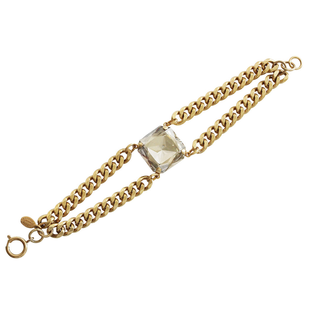 Catherine Popesco 14k Gold Plated Large Square Cushion Statement Swarovski Double Chain Bracelet, 7.5