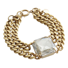 "Catherine Popesco 14k Gold Plated Large Square Cushion Statement Swarovski Double Chain Bracelet, 7.5"" 1849G Shade"