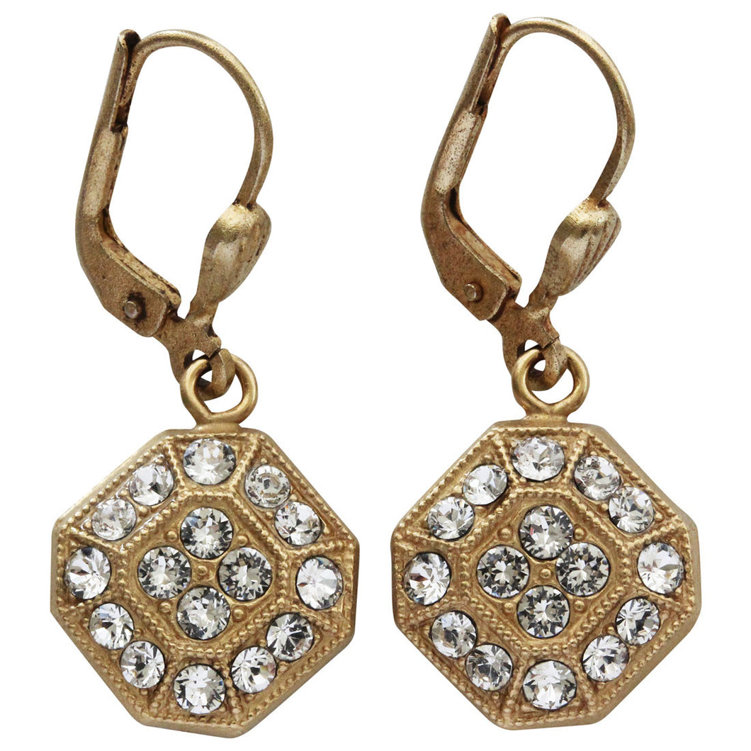Catherine Popesco 14k Gold Plated Petite Square Swarovski Crystal Earrings, 9398G Clear