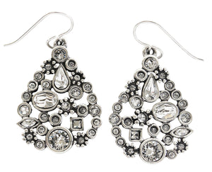 "Patricia Locke ""St. Petersburg"" Sterling Silver Plated Swarovski Earrings, All Crystal EF1055S"