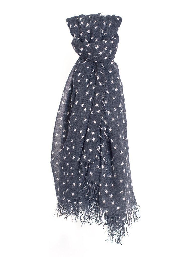 Chan Luu Cashmere and Silk Scarf Wrap - Stars Total Eclipse and White BRH-SC-451