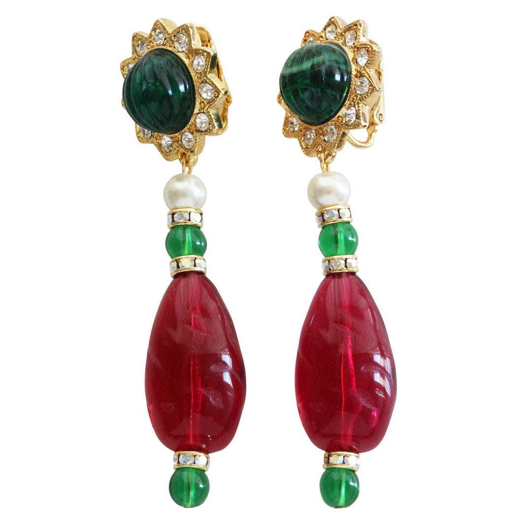 Kenneth Jay Lane Goldtone Simulated Emerald Ruby Starburst Drop Clip On Earrings 2210EER