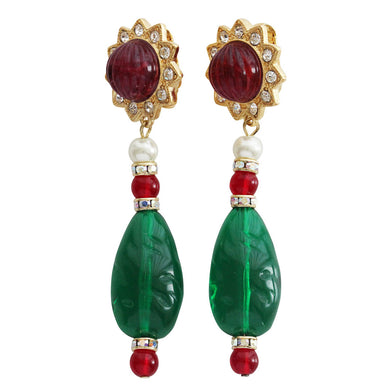 Kenneth Jay Lane Goldtone Simulated Emerald Green Ruby Red Starburst Drop Clip On Earrings 2210ERE