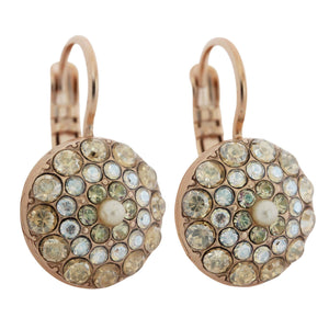 "Mariana ""Aurora"" Rose Gold Plated Moondust Round Mosaic Swarovski Crystal Earrings, 1141 1093mr"