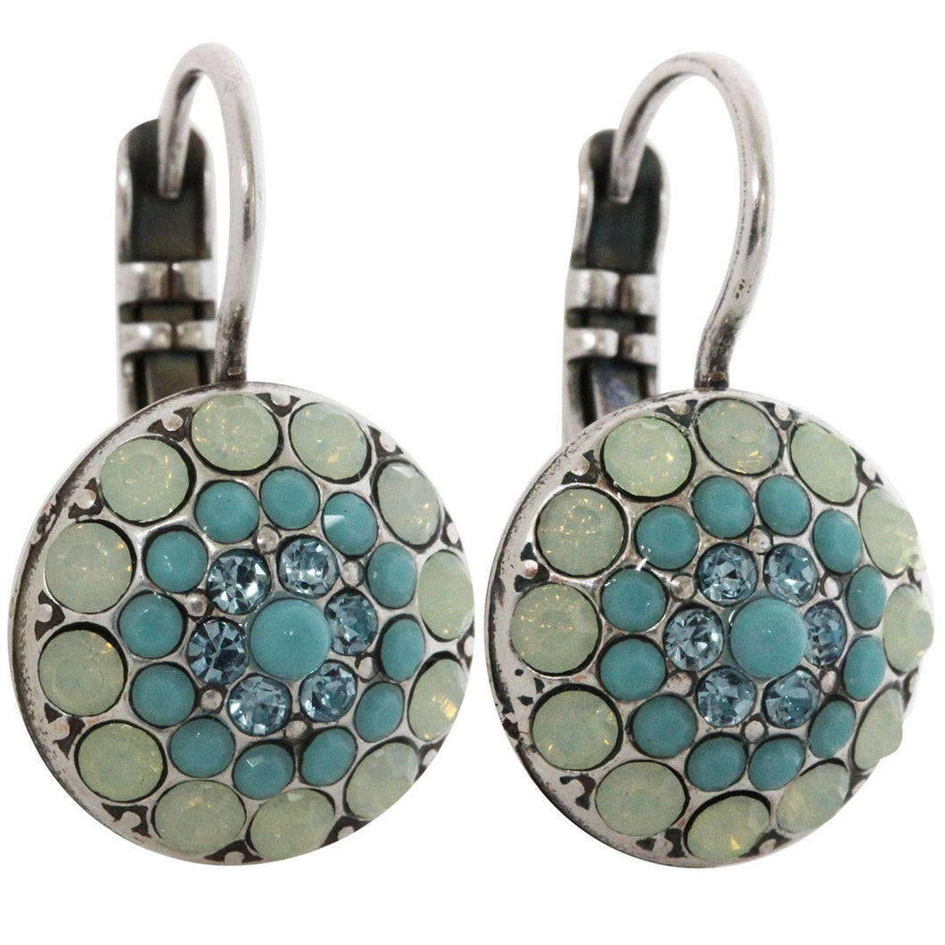 Mariana Silver Plated Moondust Round Swarovski Crystal Earrings, Blue Lagoon 1141 1205