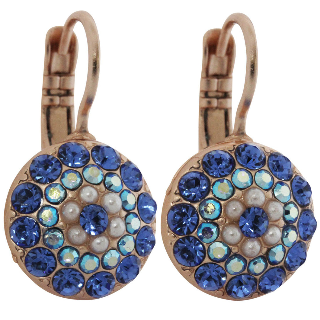 Mariana Rose Gold Plated Moondust Round Swarovski Crystal Earrings, Blue AB Pearl 1141 M48206mr