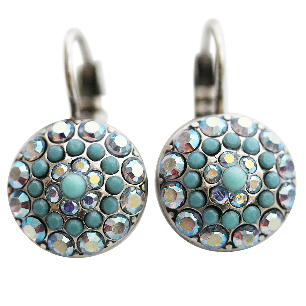 Mariana Silver Plated Moondust Round Swarovski Crystal Earrings, Blue AB 1141 267