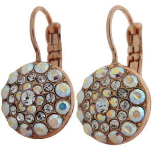 Mariana Rose Gold Plated Moondust Round Swarovski Crystal Earrings, Clear Crystal AB 1141 001ABrg