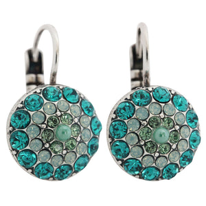 "Mariana ""Congo"" Silver Plated Moondust Round Swarovski Crystal Earrings, 1141 1076"