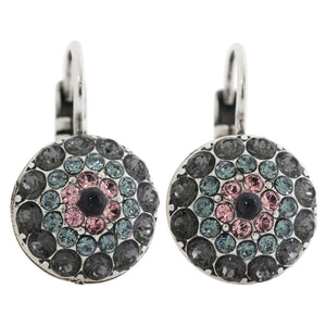 "Mariana ""Madagascar"" Silver Plated Moondust Round Swarovski Crystal Earrings, 1141 1083"