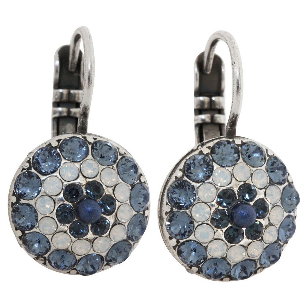 Mariana Mood Indigo Silver Plated Moondust Round Swarovski Crystal Earrings, 1141 1069
