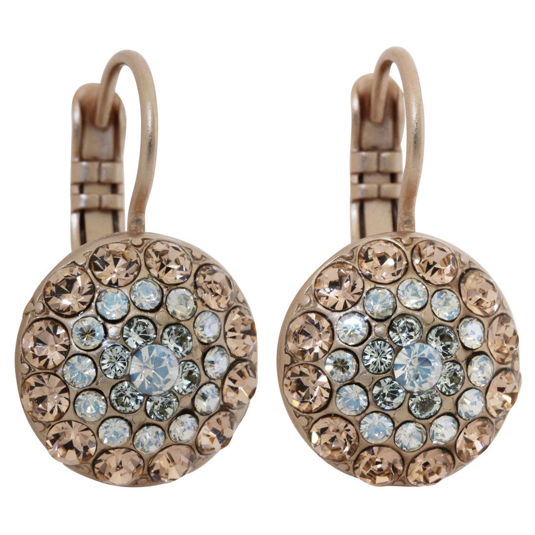 Mariana Rose Gold Plated Moondust Round Swarovski Crystal Earrings, Moon Dance 1141 MOL361mr