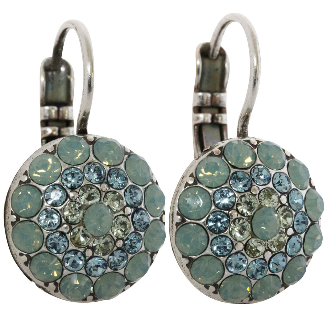 Mariana Silver Plated Moondust Round Swarovski Crystal Earrings, Pacific Blue 1141 6170