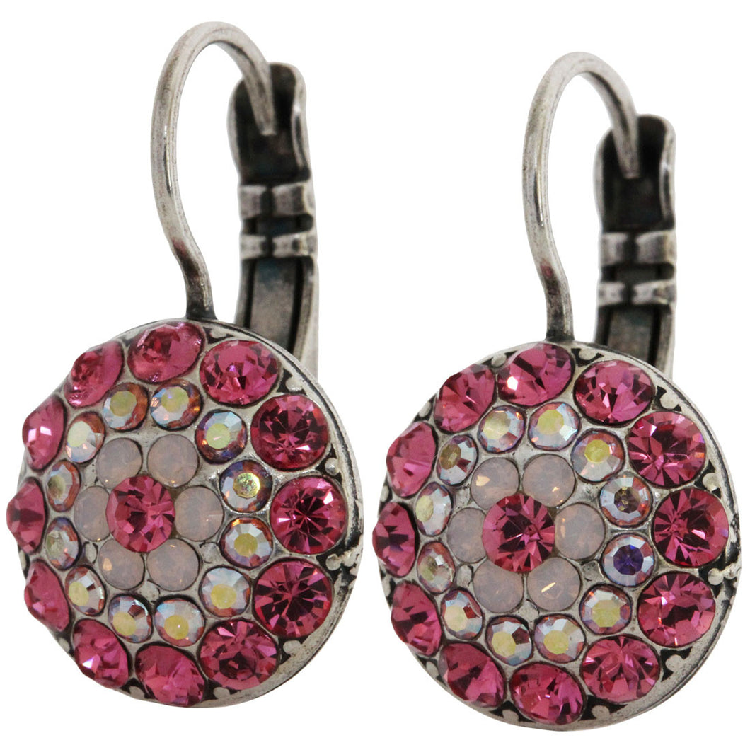 Mariana Silver Plated Moondust Round Swarovski Crystal Earrings, Pink 1141 3111