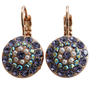 Mariana Rose Gold Plated Moondust Round Swarovski Crystal Earrings, Purple AB 1141 M48539rg