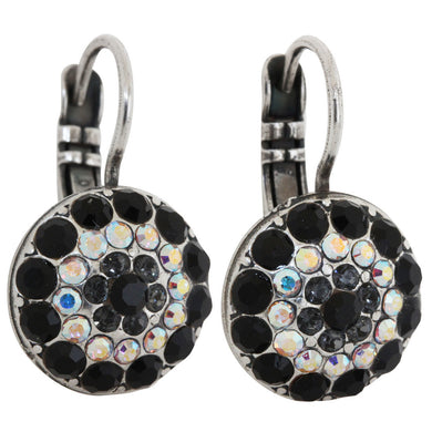 Mariana Silver Plated Moondust Round Swarovski Crystal Earrings, Tuxedo 1141 3701