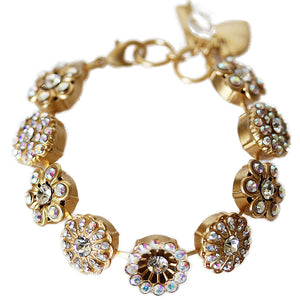 "Mariana Gold Plated Statement Flowers Swarovski Crystal Bracelet, 7"" Clear Crystal AB 4138 001AByg"