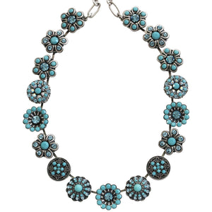 "Mariana Silver Plated Statement Flowers Swarovski Crystal Necklace, 17"" Bliss 3138 2672"