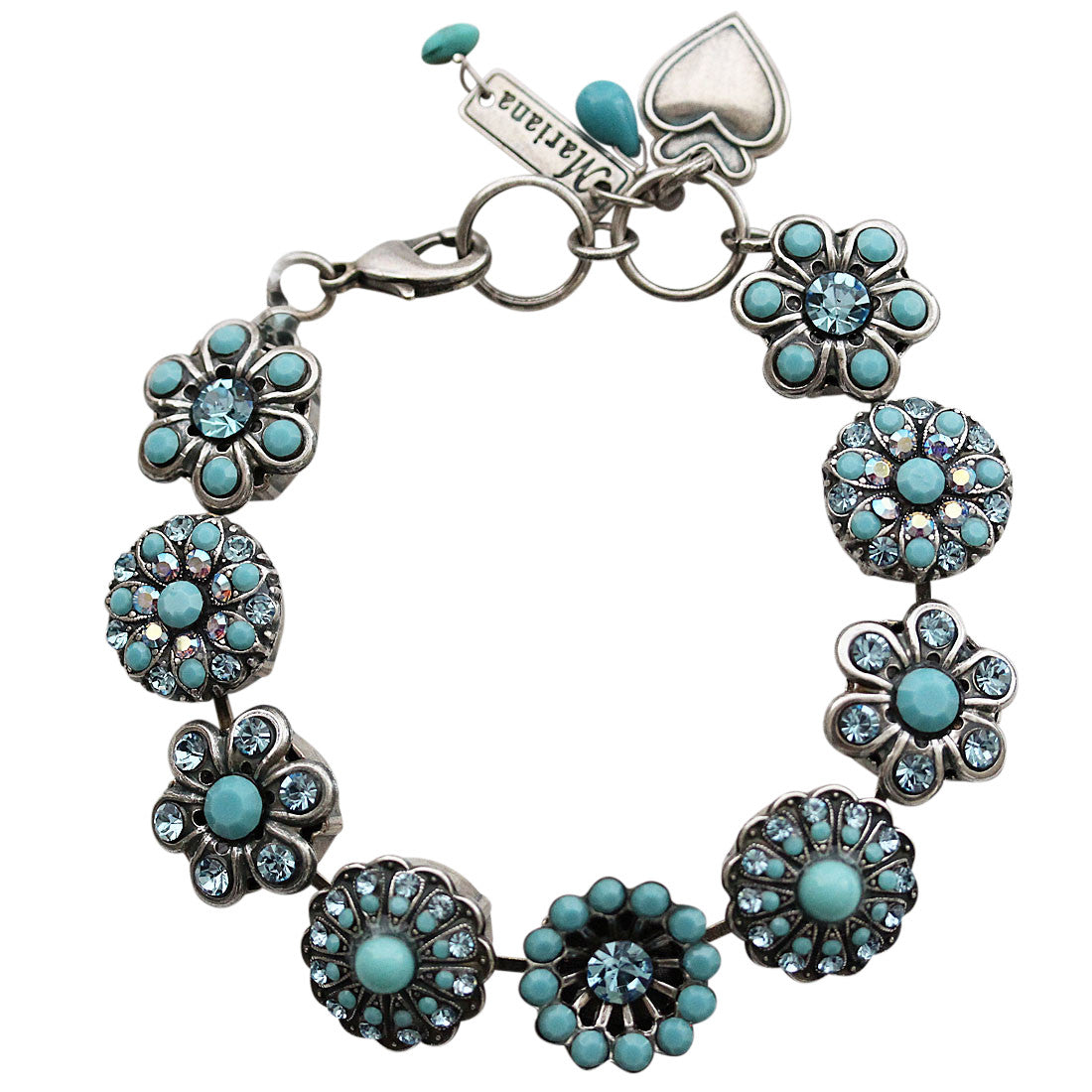 "Mariana Silver Plated Statement Flowers Swarovski Crystal Bracelet, 7"" Bliss 4138 2672"