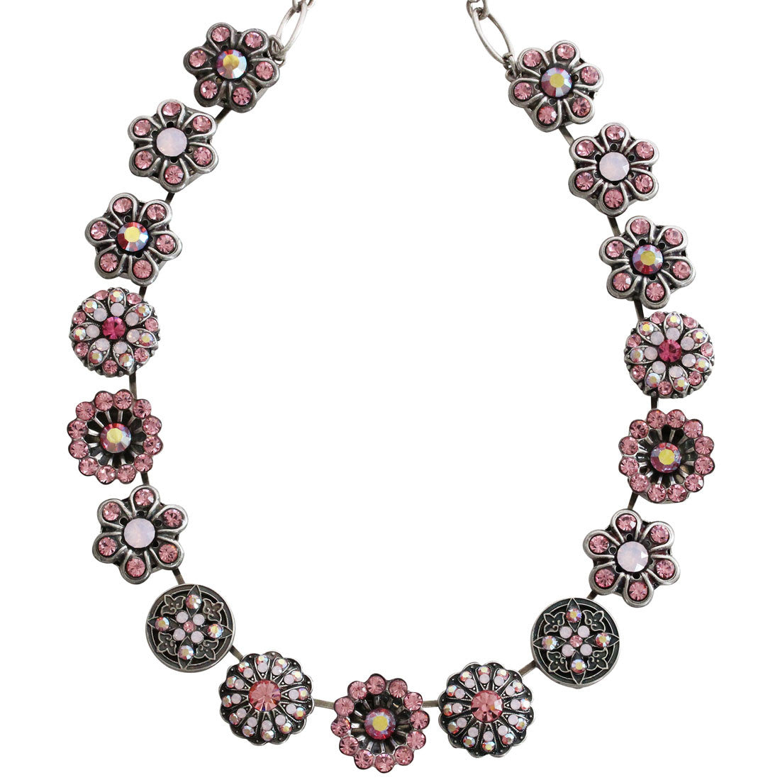 "Mariana Silver Plated Statement Flowers Swarovski Crystal Necklace, 17"" Pink AB 3138 2230"
