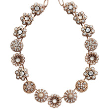 "Mariana Rose Gold Plated Statement Flowers Swarovski Crystal Necklace, 17"" Forever 3138 M5087mr"