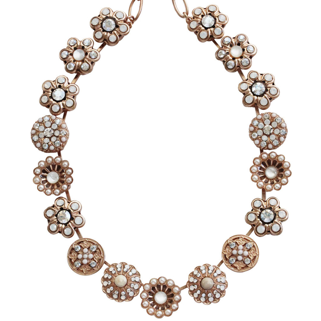 Mariana Rose Gold Plated Statement Flowers Swarovski Crystal Necklace, 17
