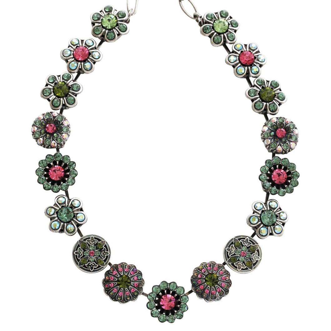 Mariana Silver Plated Statement Flowers Swarovski Crystal Necklace, 17