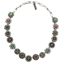 "Mariana Silver Plated Statement Flowers Swarovski Crystal Necklace, 17"" Green Pink 3138 2229"