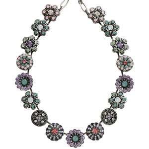 "Mariana Silver Plated Statement Flowers Swarovski Crystal Necklace, 17"" Pina Colada 3138 1063"