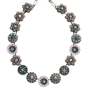 "Mariana Silver Plated Statement Flowers Swarovski Crystal Necklace, 17"" Summer Fun 3138 3711"