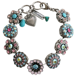 "Mariana Silver Plated Statement Flowers Swarovski Crystal Bracelet, 7"" Summer Fun 4138 3711"