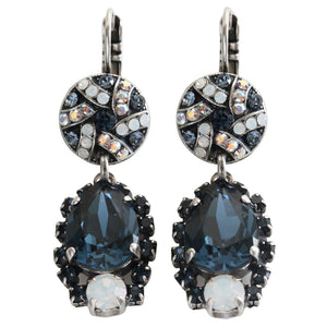 "Mariana ""Mood Indigo"" Silver Plated Teardrop Surrounding Crystal Swarovski Statement Earrings, 1259 1069"