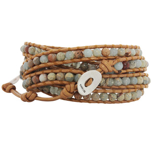 Chan Luu Aqua Terra Stones on Bronze Leather Wrap Bracelet BS-1289
