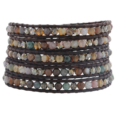 Chan Luu Fancy Jasper Mix on Natural Dark Brown Leather Wrap Bracelet BS-3644
