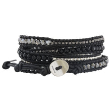 Chan Luu Black Onyx Mix Sterling Silver Gunmetal Nuggets on Black Leather Wrap Bracelet BS-4622
