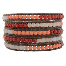 Chan Luu Coral Orange Red Mix on Brown Leather Wrap Bracelet BS-2259