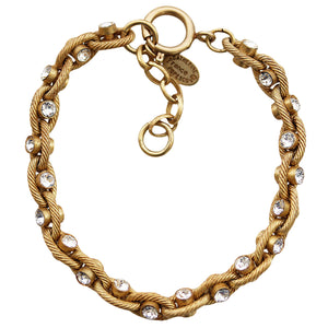 "Catherine Popesco 14k Gold Plated Crystal Studded Bracelet, 7.25"" 1641G Clear"